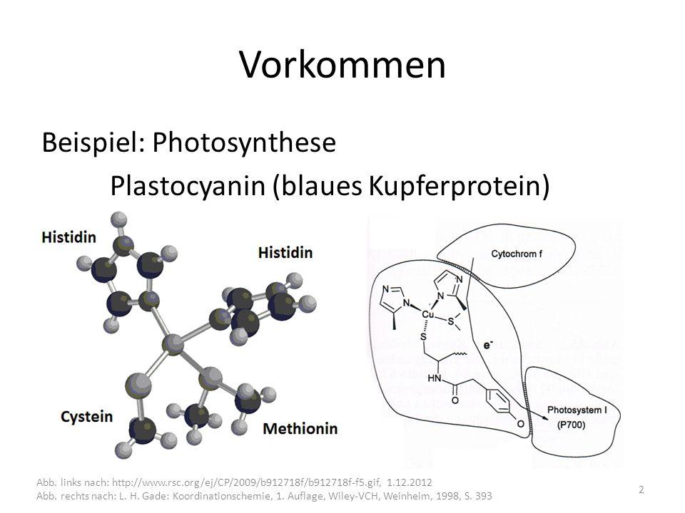 Vorkommen Beispiel: Photosynthese Plastocyanin (blaues Kupferprotein) Abb.