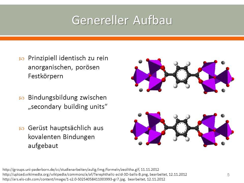 Reinmetall-Elektroden und gelöster Linker in Lösungsmittel Vorteile: großtechnisch einsetzbar, kontinuierliche Linkerdissoziation Nachteile: aufwändig, gefährlicher, Reaktionsdauer Elektrochemische MOF-Synthese mit M(II) und Dicarbonsäure: Dissoziation: DCH 2 DC 2- + 2 H + Anode: M M 2+ + 2e - Kathode: 2H + + 2e - H 2 Elektrochemische MOF-Synthese mit M(II) und Dicarbonsäure: Dissoziation: DCH 2 DC 2- + 2 H + Anode: M M 2+ + 2e - Kathode: 2H + + 2e - H 2 MeOH DCH 2 H2H2 2+ M e-e- MOF http://www.uni-saarland.de/fak7/fze/AKE_Archiv/AKE2007H/AKE2007H_Vortraege/AKE2007H_05Puetter_Chemie- undEnergieversorgung.ppt, 13.11.2012 6
