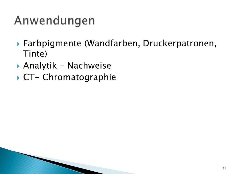 Farbpigmente (Wandfarben, Druckerpatronen, Tinte) Analytik – Nachweise CT- Chromatographie 21