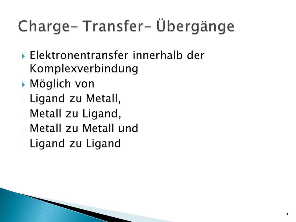 Elektronentransfer innerhalb der Komplexverbindung Möglich von - Ligand zu Metall, - Metall zu Ligand, - Metall zu Metall und - Ligand zu Ligand 5