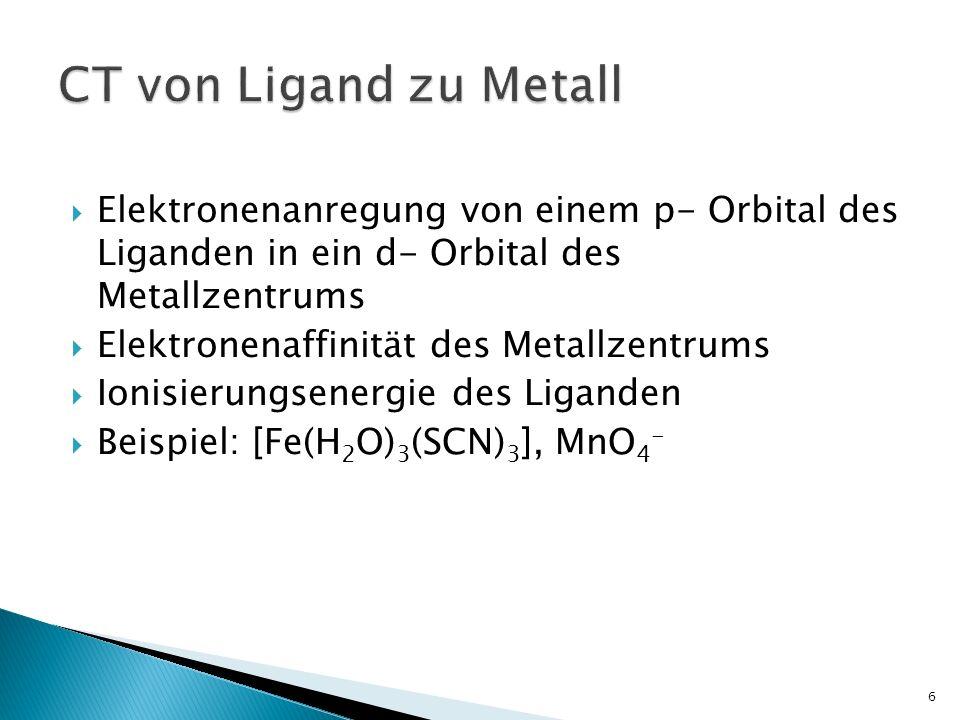 Elektronenanregung von einem p- Orbital des Liganden in ein d- Orbital des Metallzentrums Elektronenaffinität des Metallzentrums Ionisierungsenergie des Liganden Beispiel: [Fe(H 2 O) 3 (SCN) 3 ], MnO 4 - 6