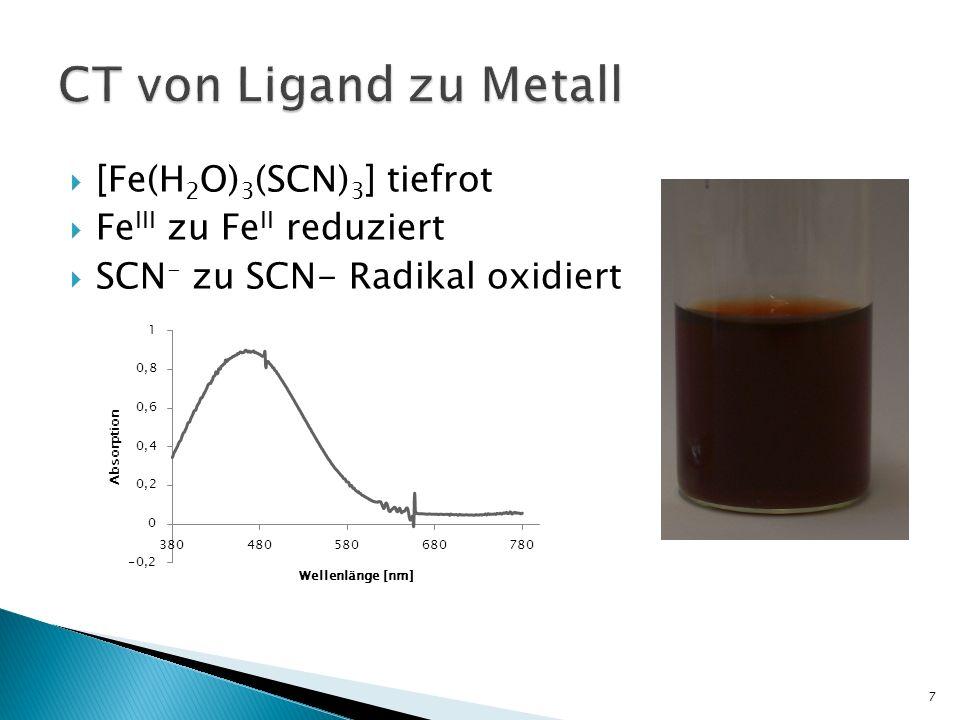[Fe(H 2 O) 3 (SCN) 3 ] tiefrot Fe III zu Fe II reduziert SCN - zu SCN- Radikal oxidiert 7