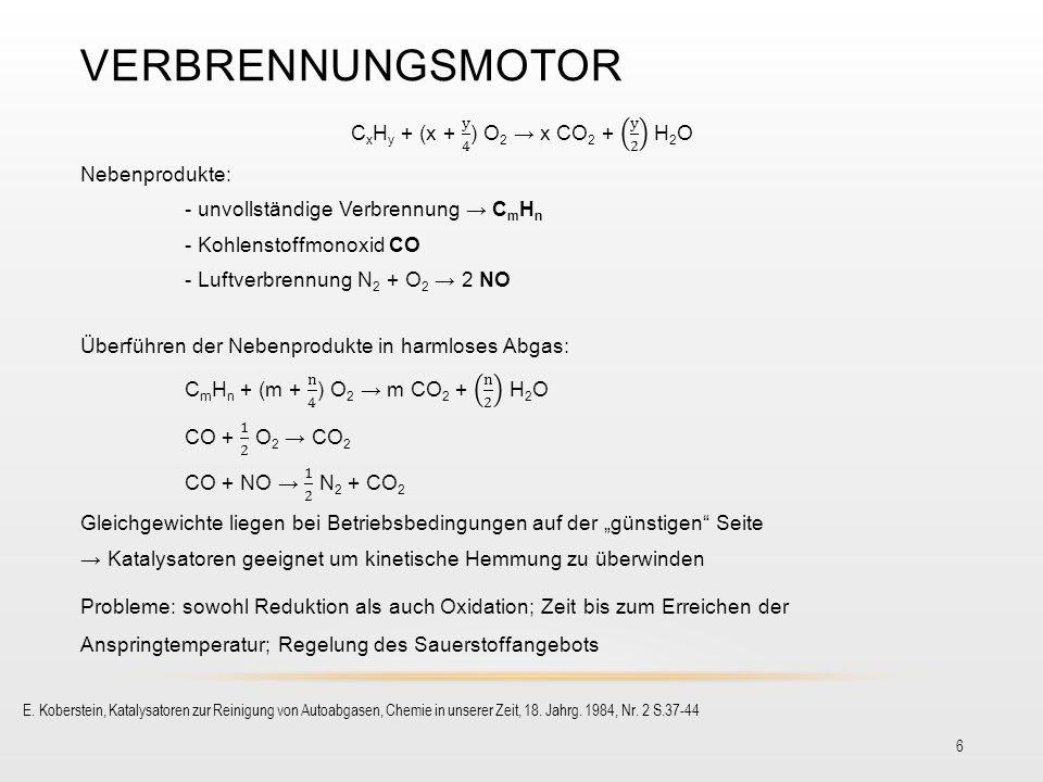 VERBRENNUNGSMOTOR 6 E. Koberstein, Katalysatoren zur Reinigung von Autoabgasen, Chemie in unserer Zeit, 18. Jahrg. 1984, Nr. 2 S.37-44