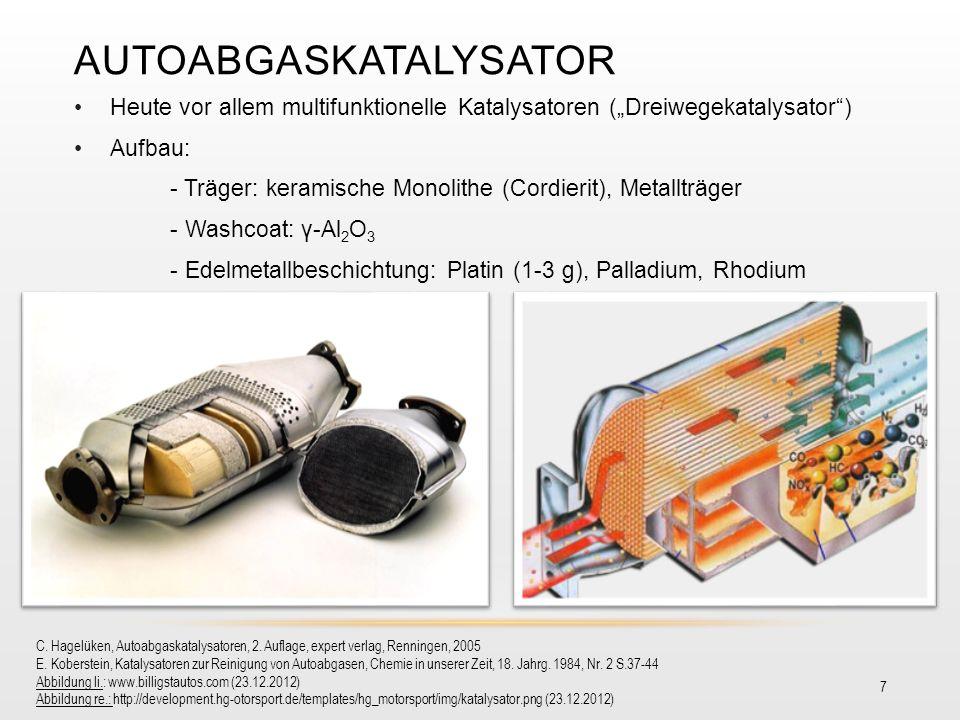 AUTOABGASKATALYSATOR 7 Heute vor allem multifunktionelle Katalysatoren (Dreiwegekatalysator) Aufbau: - Träger: keramische Monolithe (Cordierit), Metal