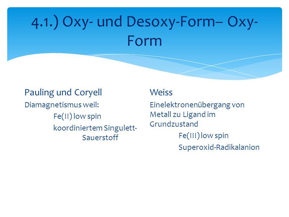 4.1.) Oxy- und Desoxy-Form– Oxy- Form Pauling und Coryell Diamagnetismus weil: Fe(II) low spin koordiniertem Singulett- Sauerstoff Weiss Einelektronenübergang von Metall zu Ligand im Grundzustand Fe(III) low spin Superoxid-Radikalanion