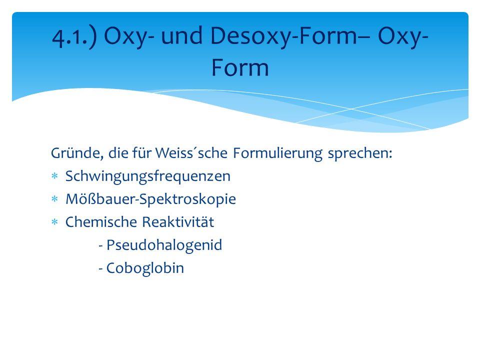 Gründe, die für Weiss´sche Formulierung sprechen: Schwingungsfrequenzen Mößbauer-Spektroskopie Chemische Reaktivität - Pseudohalogenid - Coboglobin 4.1.) Oxy- und Desoxy-Form– Oxy- Form