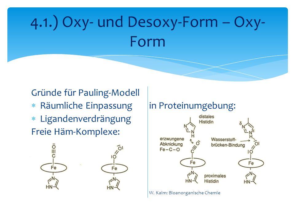 Gründe für Pauling-Modell Räumliche Einpassungin Proteinumgebung: Ligandenverdrängung Freie Häm-Komplexe: W. Kaim: Bioanorganische Chemie 4.1.) Oxy- u