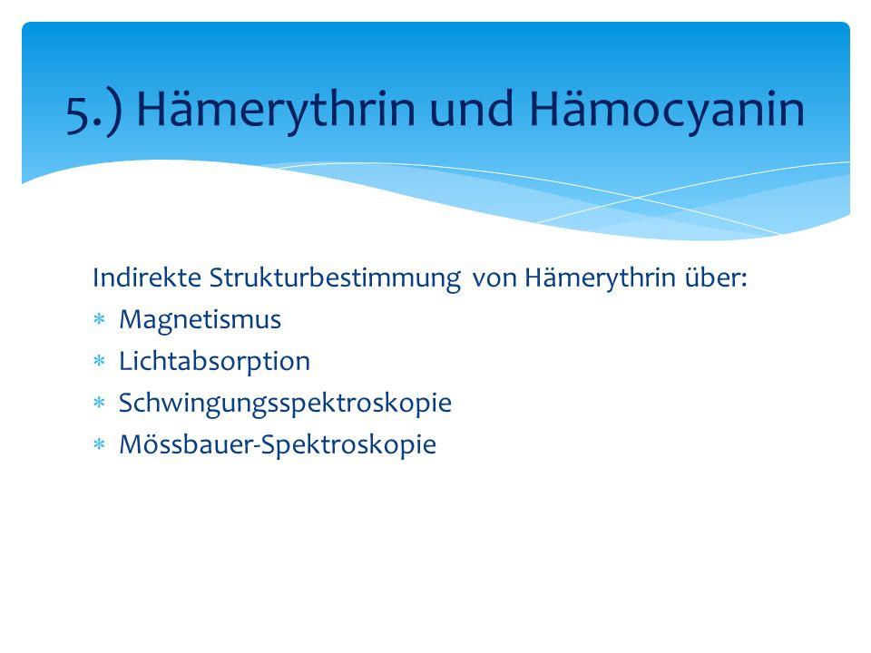 Indirekte Strukturbestimmung von Hämerythrin über: Magnetismus Lichtabsorption Schwingungsspektroskopie Mössbauer-Spektroskopie 5.) Hämerythrin und Hämocyanin