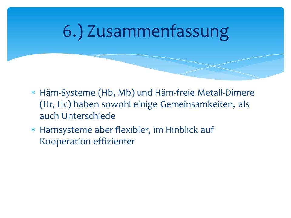 Häm-Systeme (Hb, Mb) und Häm-freie Metall-Dimere (Hr, Hc) haben sowohl einige Gemeinsamkeiten, als auch Unterschiede Hämsysteme aber flexibler, im Hinblick auf Kooperation effizienter 6.) Zusammenfassung