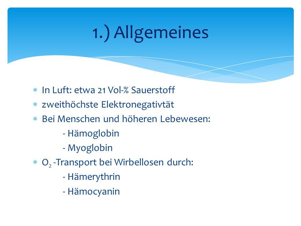 In Luft: etwa 21 Vol-% Sauerstoff zweithöchste Elektronegativtät Bei Menschen und höheren Lebewesen: - Hämoglobin - Myoglobin O 2 -Transport bei Wirbellosen durch: - Hämerythrin - Hämocyanin 1.) Allgemeines