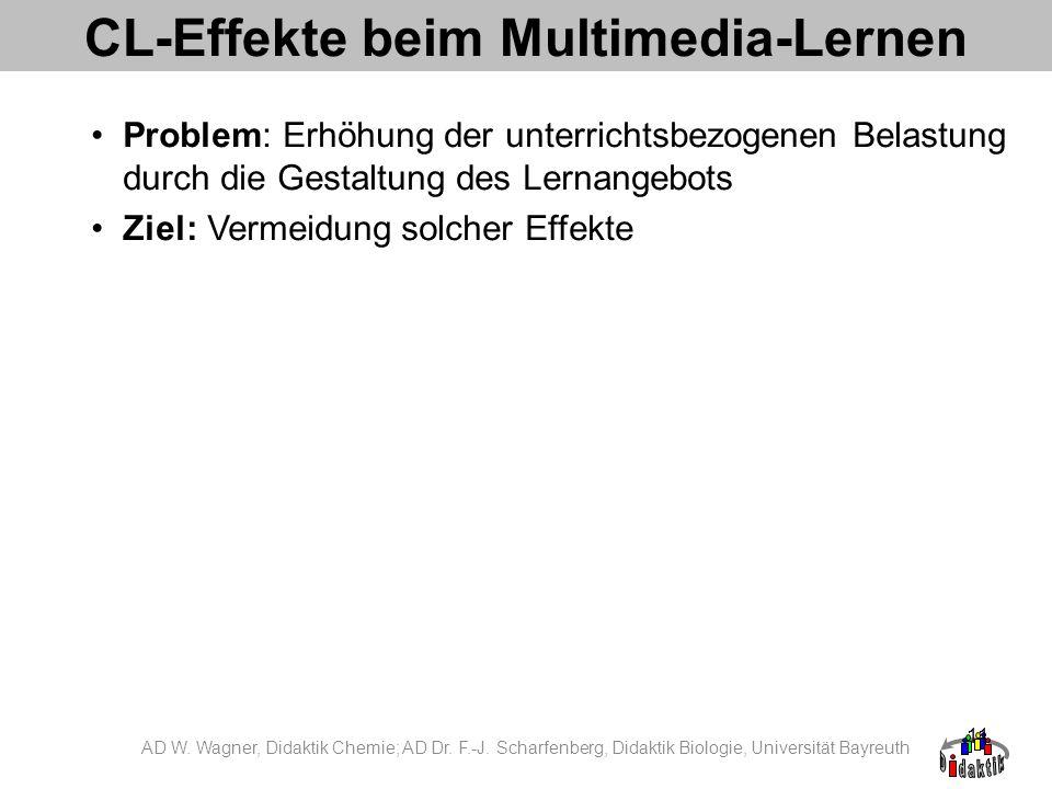 11 CL-Effekte beim Multimedia-Lernen Problem: Erhöhung der unterrichtsbezogenen Belastung durch die Gestaltung des Lernangebots Ziel: Vermeidung solch