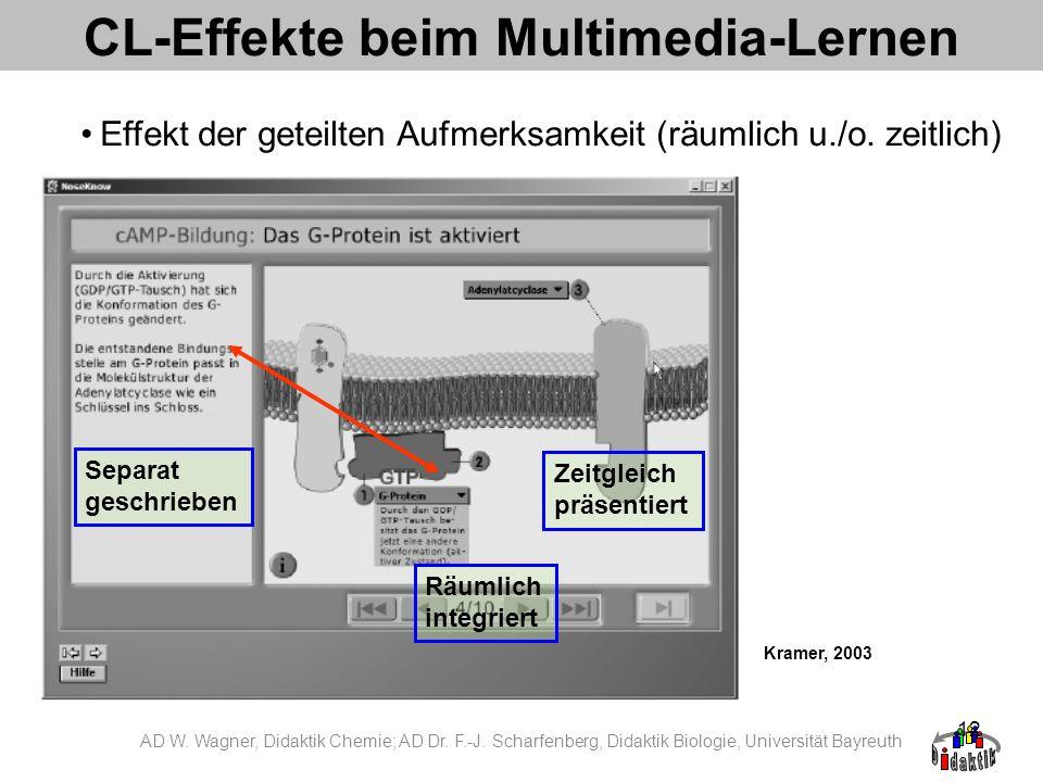 12 CL-Effekte beim Multimedia-Lernen Effekt der geteilten Aufmerksamkeit (räumlich u./o. zeitlich) Kramer, 2003 Separat geschrieben Räumlich integrier