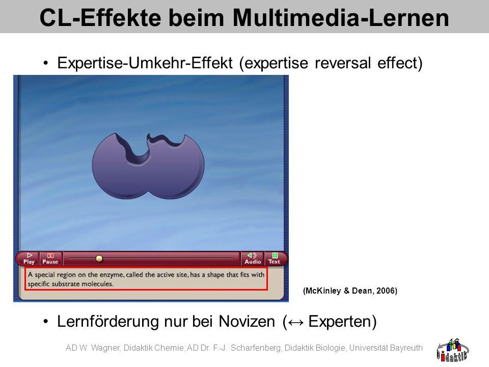 16 CL-Effekte beim Multimedia-Lernen Expertise-Umkehr-Effekt (expertise reversal effect) Lernförderung nur bei Novizen ( Experten) (McKinley & Dean, 2