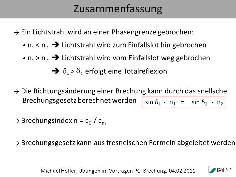 Zusammenfassung Michael Höfler, Übungen im Vortragen PC, Brechung, 04.02.2011 Ein Lichtstrahl wird an einer Phasengrenze gebrochen: n 1 ˂ n 2 Lichtstr