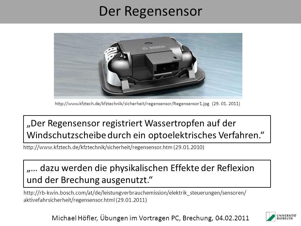 Der Regensensor Michael Höfler, Übungen im Vortragen PC, Brechung, 04.02.2011 http://www.kfztech.de/kfztechnik/sicherheit/regensensor/Regensensor1.jpg