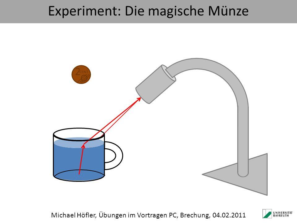 Experiment: Die magische Münze Michael Höfler, Übungen im Vortragen PC, Brechung, 04.02.2011 2 CENT