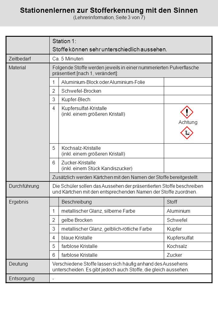 Stationenlernen zur Stofferkennung mit den Sinnen (Lehrerinformation, Seite 3 von 7) Station 1: Stoffe können sehr unterschiedlich aussehen. Zeitbedar