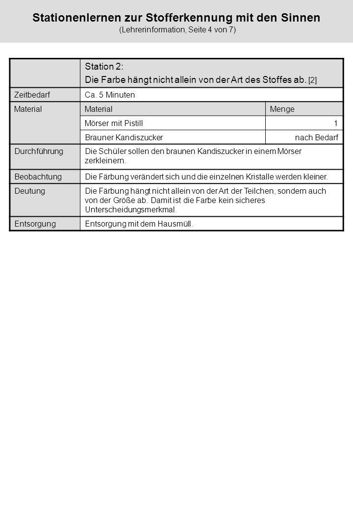 Stationenlernen zur Stofferkennung mit den Sinnen (Lehrerinformation, Seite 4 von 7) Station 2: Die Farbe hängt nicht allein von der Art des Stoffes a