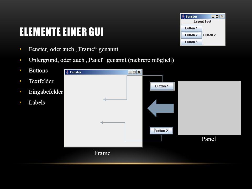 SWING UND JFRAME import javax.swing.*; public class GUI extends JFrame { public GUI() { super( Fenster ); setSize(300,300); setLocation(300,300); setDefaultCloseOperation(JFrame.EXIT_ON_CLOSE); setVisible(true); } public static void main(String[] args) { FirstGUI g = new FirstGUI(); } }