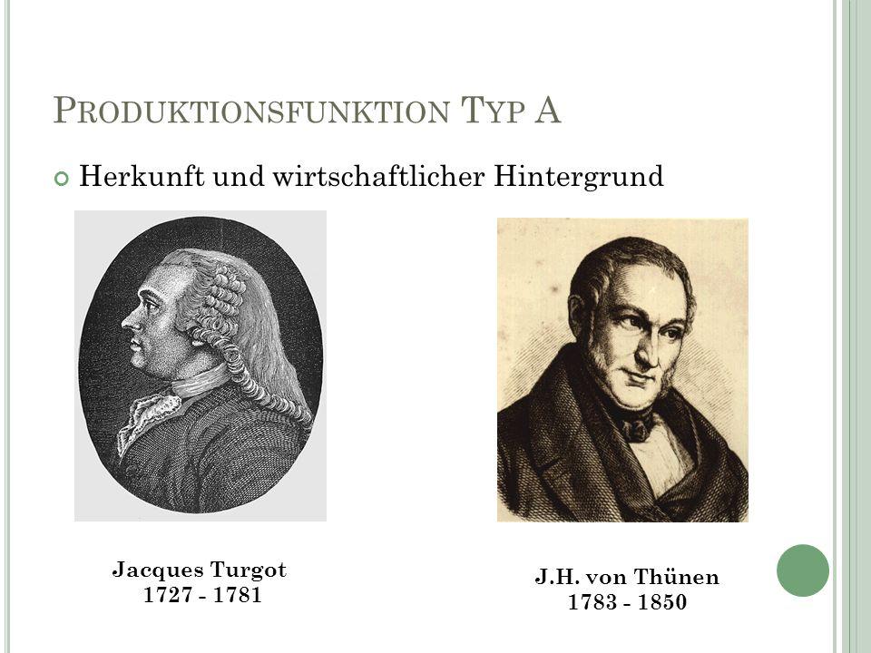 P RODUKTIONSFUNKTION T YP A Herkunft und wirtschaftlicher Hintergrund J.H.