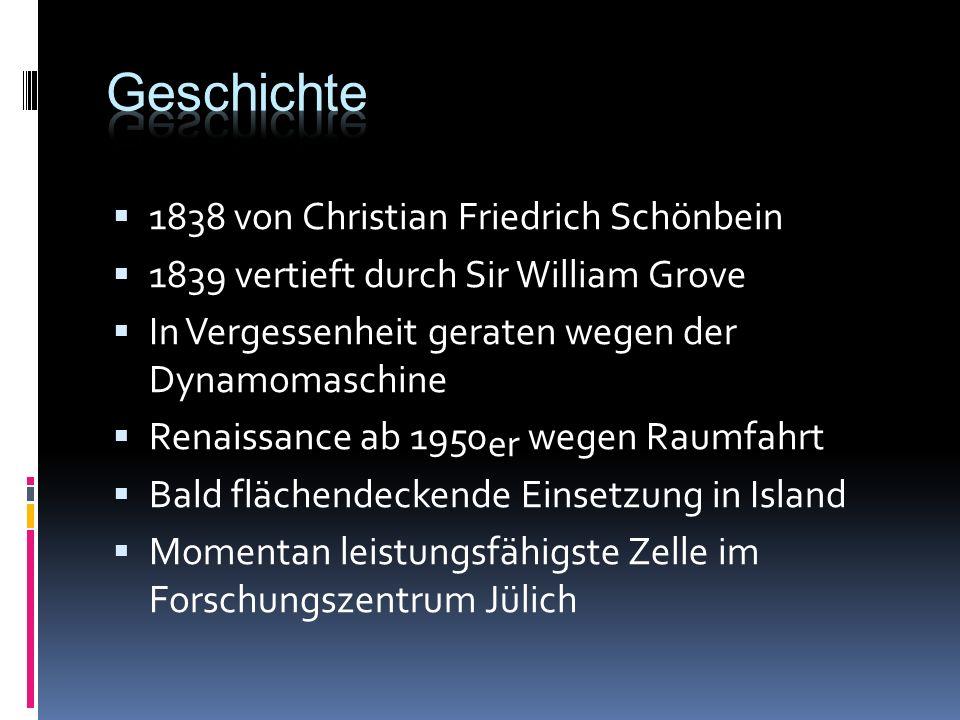 1838 von Christian Friedrich Schönbein 1839 vertieft durch Sir William Grove In Vergessenheit geraten wegen der Dynamomaschine Renaissance ab 1950 er wegen Raumfahrt Bald flächendeckende Einsetzung in Island Momentan leistungsfähigste Zelle im Forschungszentrum Jülich