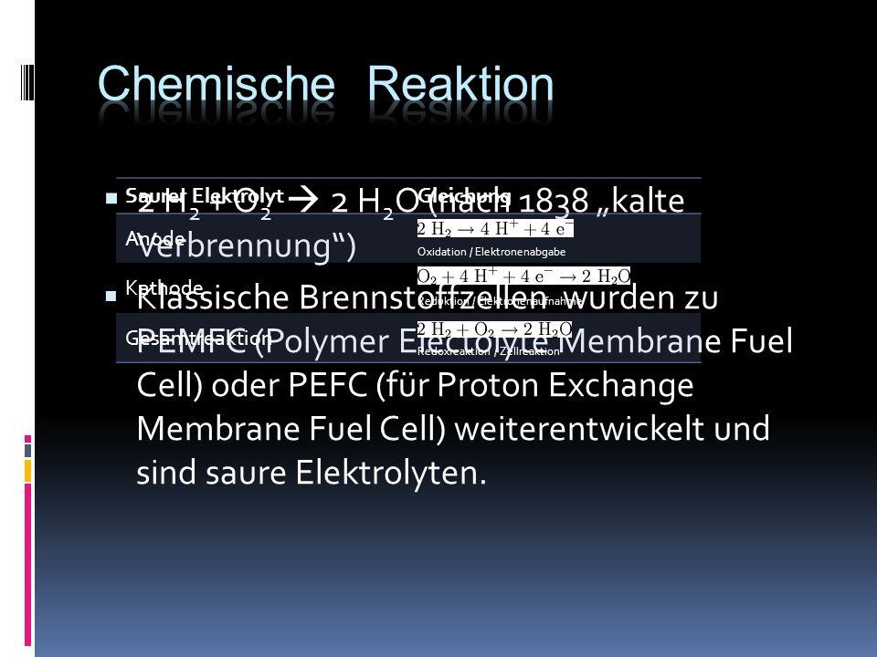 2 H 2 + O 2 2 H 2 O (nach 1838 kalte Verbrennung) Klassische Brennstoffzellen wurden zu PEMFC (Polymer Electolyte Membrane Fuel Cell) oder PEFC (für Proton Exchange Membrane Fuel Cell) weiterentwickelt und sind saure Elektrolyten.