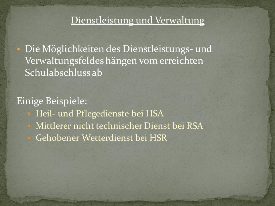 Dienstleistung und Verwaltung Die Möglichkeiten des Dienstleistungs- und Verwaltungsfeldes hängen vom erreichten Schulabschluss ab Einige Beispiele: H