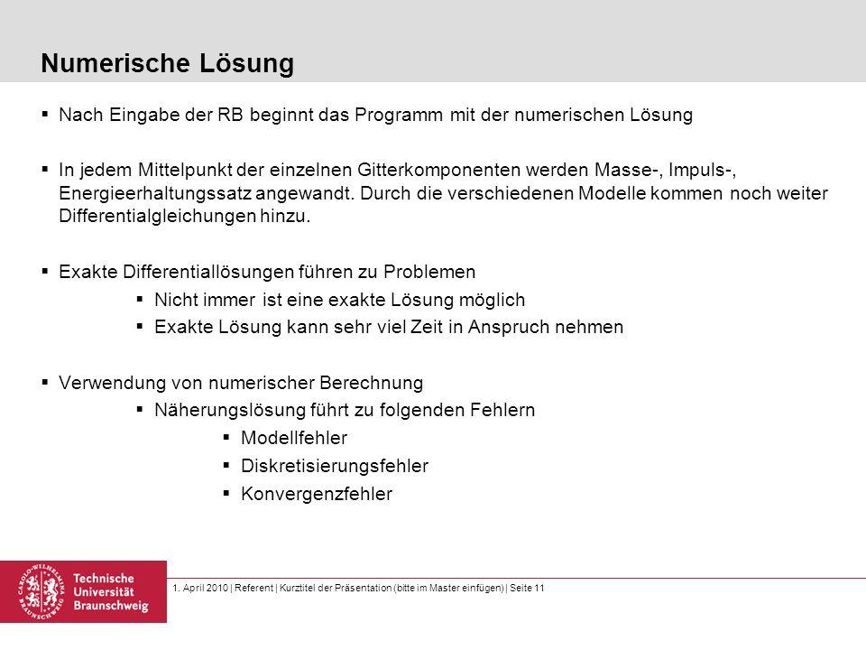 1. April 2010 | Referent | Kurztitel der Präsentation (bitte im Master einfügen) | Seite 11 Numerische Lösung Nach Eingabe der RB beginnt das Programm