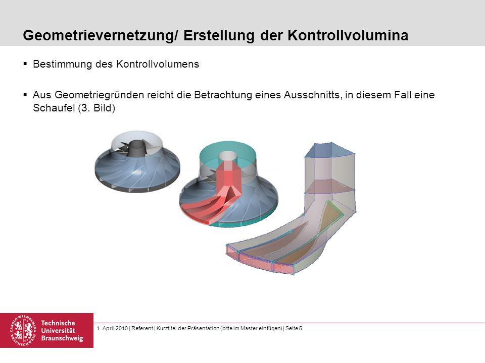 1. April 2010 | Referent | Kurztitel der Präsentation (bitte im Master einfügen) | Seite 5 Geometrievernetzung/ Erstellung der Kontrollvolumina Bestim