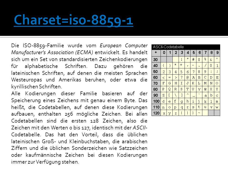 Die ISO-8859-Familie wurde vom European Computer Manufacturer s Association (ECMA) entwickelt.