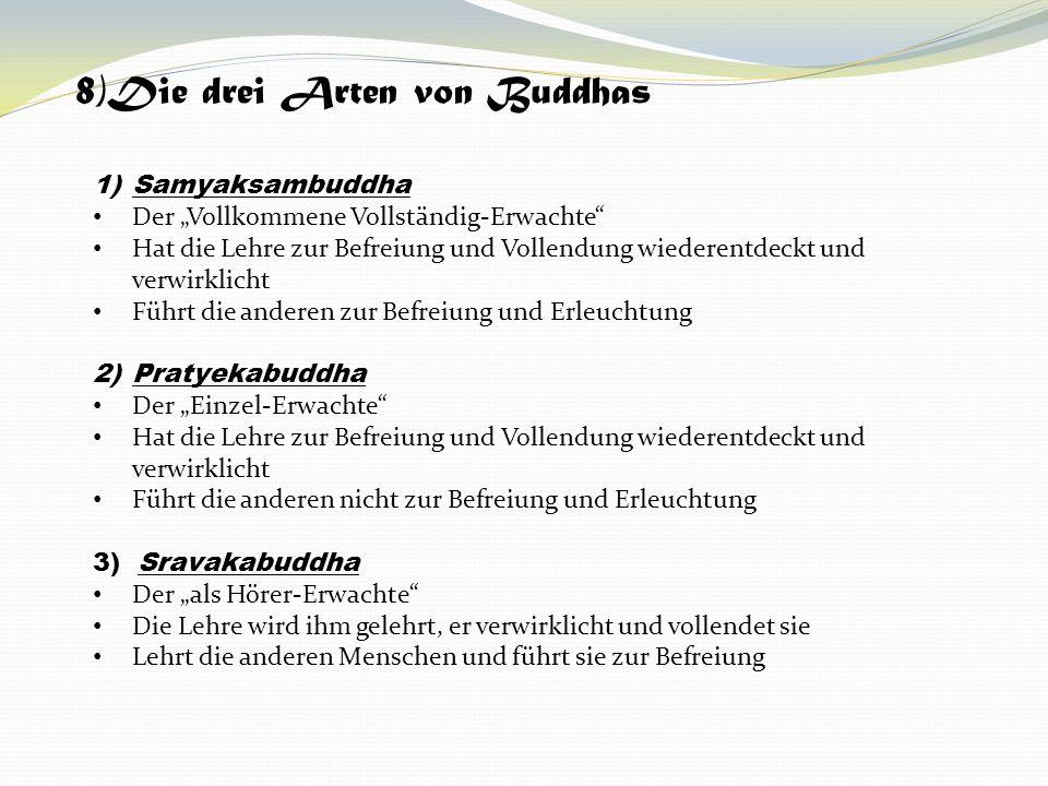 8)Die drei Arten von Buddhas 1)Samyaksambuddha Der Vollkommene Vollständig-Erwachte Hat die Lehre zur Befreiung und Vollendung wiederentdeckt und verw