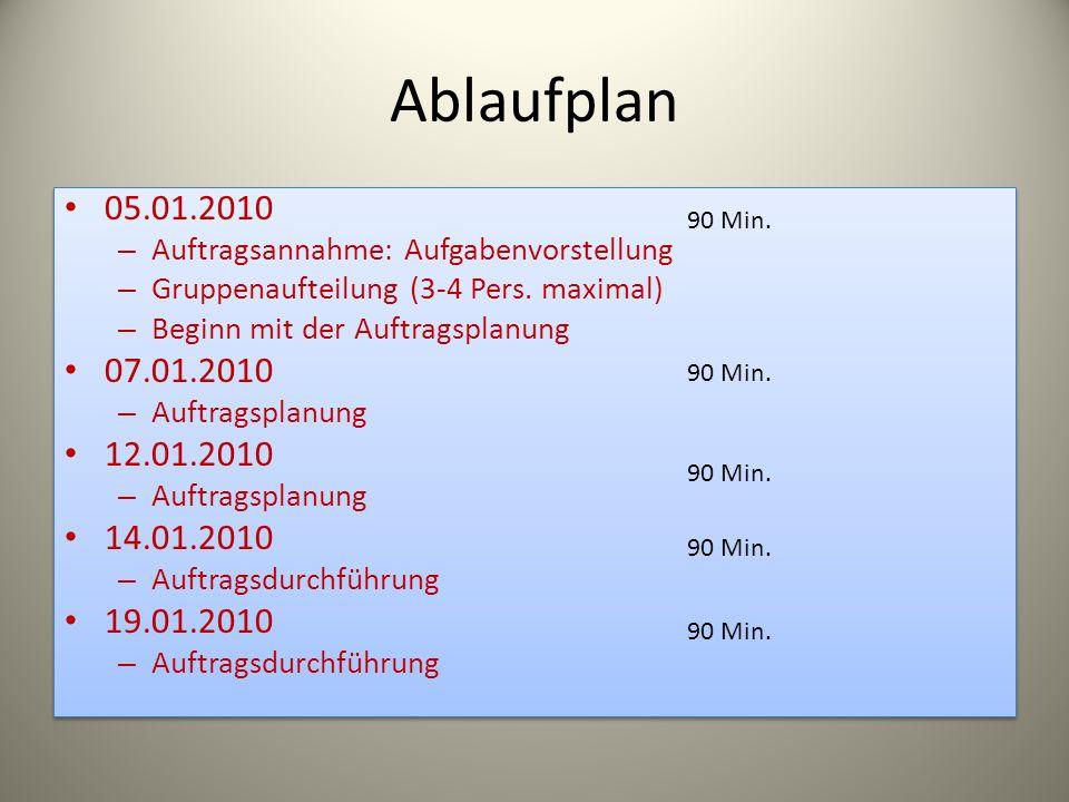 Ablaufplan 05.01.2010 – Auftragsannahme: Aufgabenvorstellung – Gruppenaufteilung (3-4 Pers. maximal) – Beginn mit der Auftragsplanung 07.01.2010 – Auf