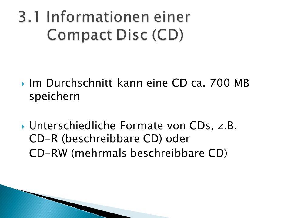 Im Durchschnitt kann eine CD ca. 700 MB speichern Unterschiedliche Formate von CDs, z.B. CD-R (beschreibbare CD) oder CD-RW (mehrmals beschreibbare CD