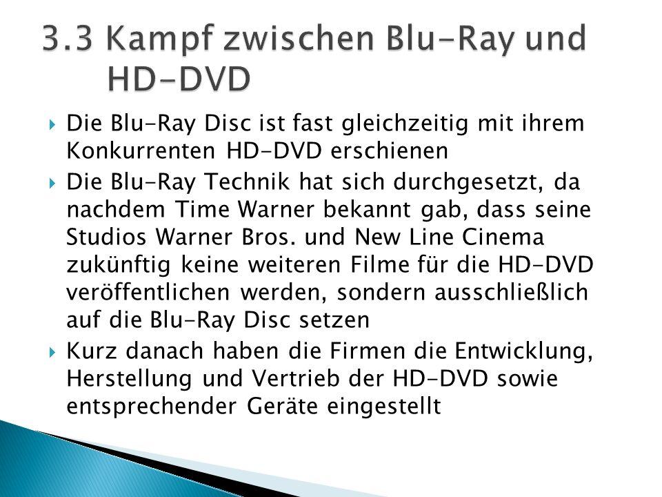 Die Blu-Ray Disc ist fast gleichzeitig mit ihrem Konkurrenten HD-DVD erschienen Die Blu-Ray Technik hat sich durchgesetzt, da nachdem Time Warner beka