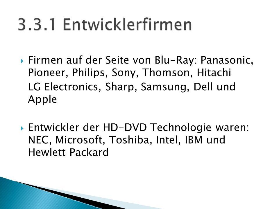Firmen auf der Seite von Blu-Ray: Panasonic, Pioneer, Philips, Sony, Thomson, Hitachi LG Electronics, Sharp, Samsung, Dell und Apple Entwickler der HD