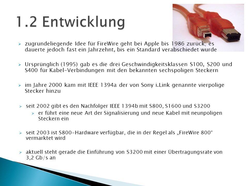 zugrundeliegende Idee für FireWire geht bei Apple bis 1986 zurück; es dauerte jedoch fast ein Jahrzehnt, bis ein Standard verabschiedet wurde Ursprüng