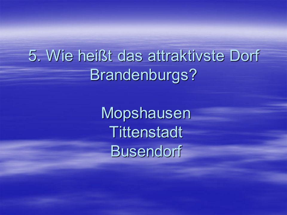 5. Wie heißt das attraktivste Dorf Brandenburgs? Mopshausen Tittenstadt Busendorf