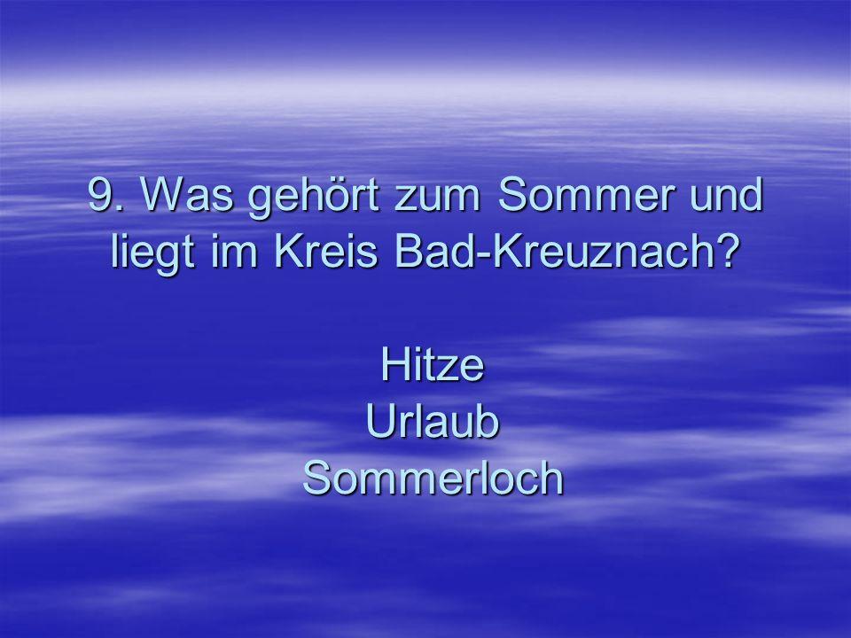 9. Was gehört zum Sommer und liegt im Kreis Bad-Kreuznach? Hitze Urlaub Sommerloch