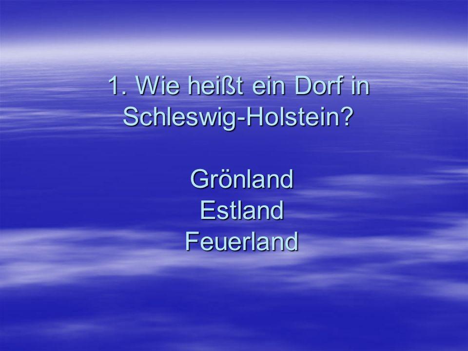 1. Wie heißt ein Dorf in Schleswig-Holstein? Grönland Estland Feuerland