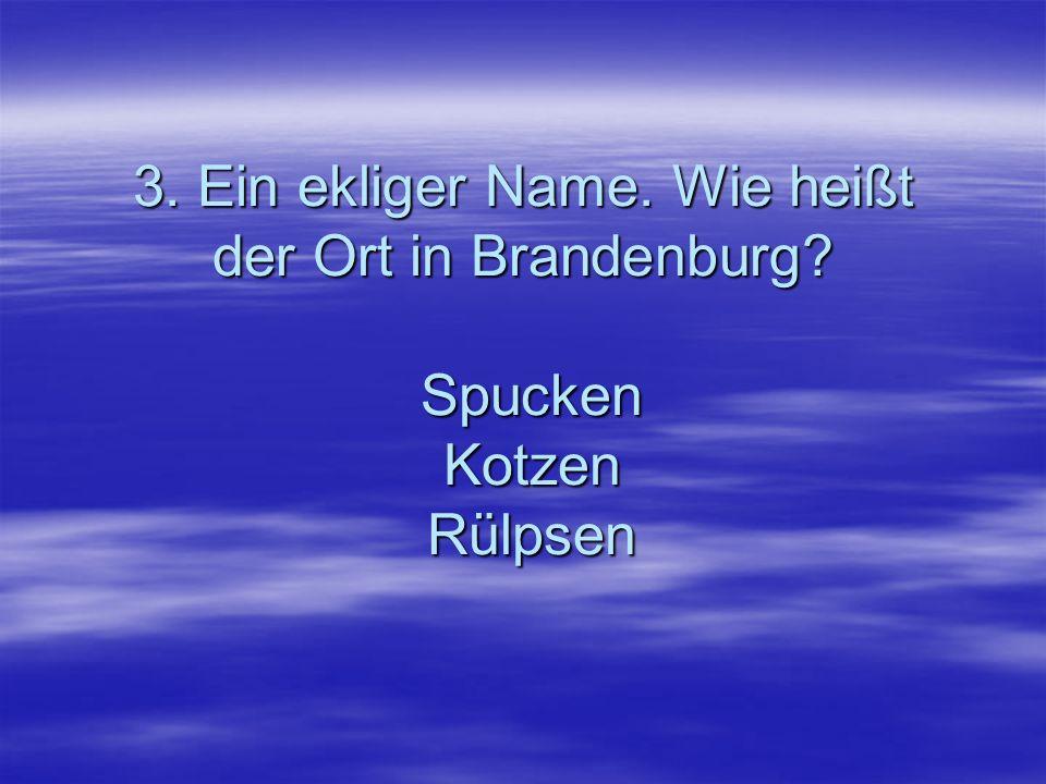 3. Ein ekliger Name. Wie heißt der Ort in Brandenburg? Spucken Kotzen Rülpsen