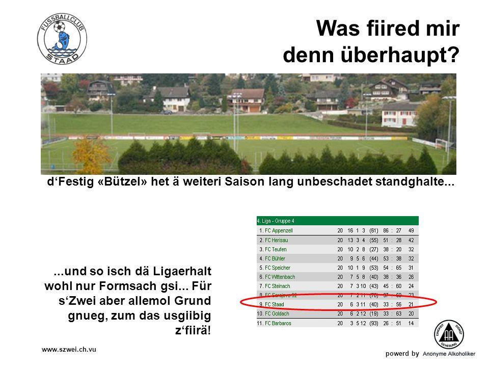 powerd by www.szwei.ch.vu Was fiired mir denn überhaupt? dFestig «Bützel» het ä weiteri Saison lang unbeschadet standghalte......und so isch dä Ligaer