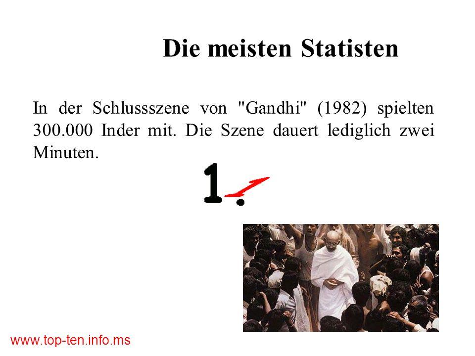 www.top-ten.info.ms Die meisten Statisten In der Schlussszene von Gandhi (1982) spielten 300.000 Inder mit.
