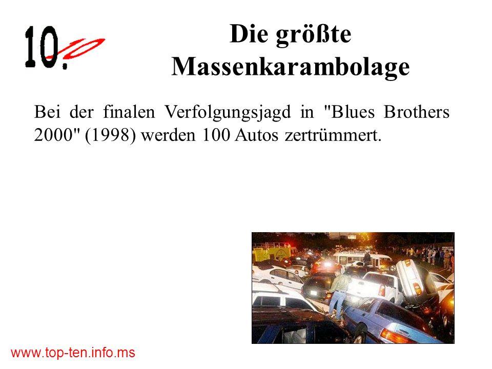 www.top-ten.info.ms Die größte Massenkarambolage Bei der finalen Verfolgungsjagd in Blues Brothers 2000 (1998) werden 100 Autos zertrümmert.