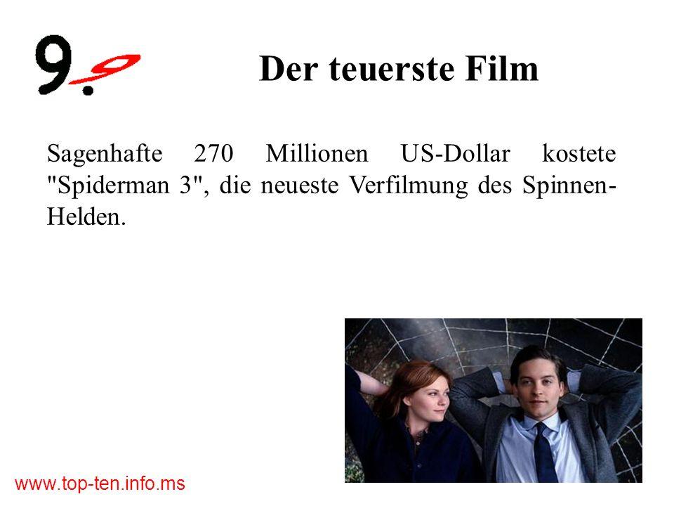 www.top-ten.info.ms Der teuerste Film Sagenhafte 270 Millionen US-Dollar kostete Spiderman 3 , die neueste Verfilmung des Spinnen- Helden.