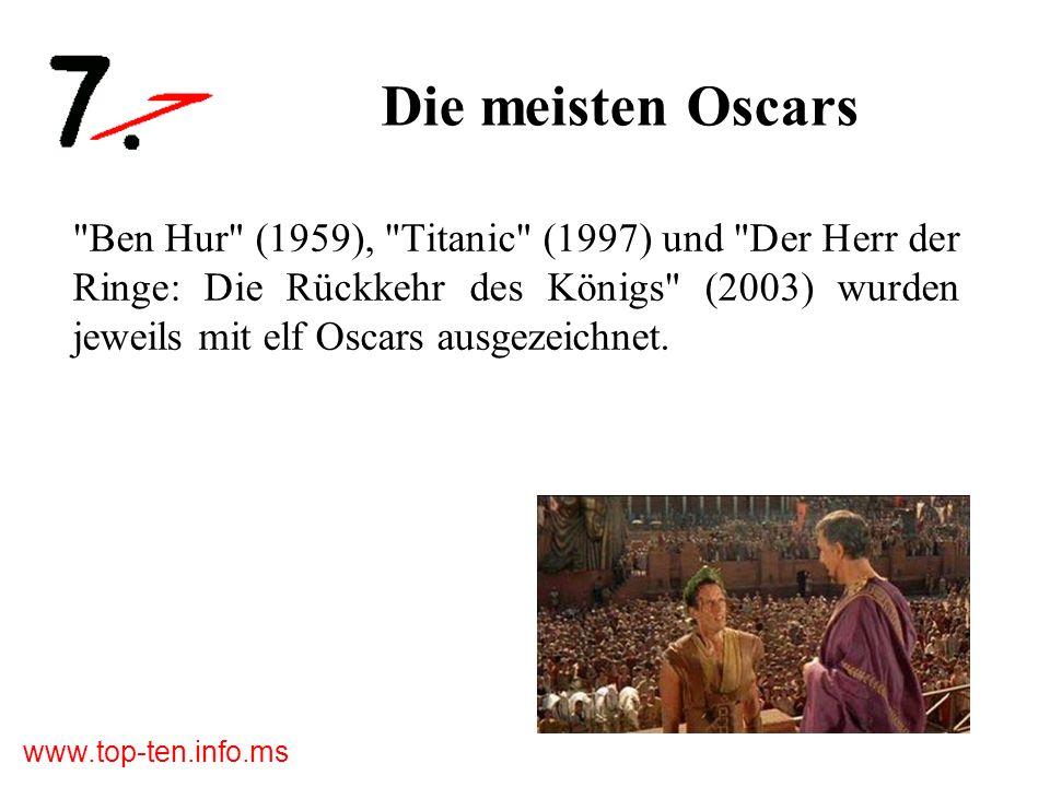 www.top-ten.info.ms Die meisten Oscars Ben Hur (1959), Titanic (1997) und Der Herr der Ringe: Die Rückkehr des Königs (2003) wurden jeweils mit elf Oscars ausgezeichnet.