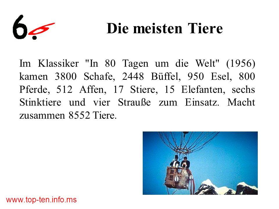 www.top-ten.info.ms Die meisten Tiere Im Klassiker In 80 Tagen um die Welt (1956) kamen 3800 Schafe, 2448 Büffel, 950 Esel, 800 Pferde, 512 Affen, 17 Stiere, 15 Elefanten, sechs Stinktiere und vier Strauße zum Einsatz.