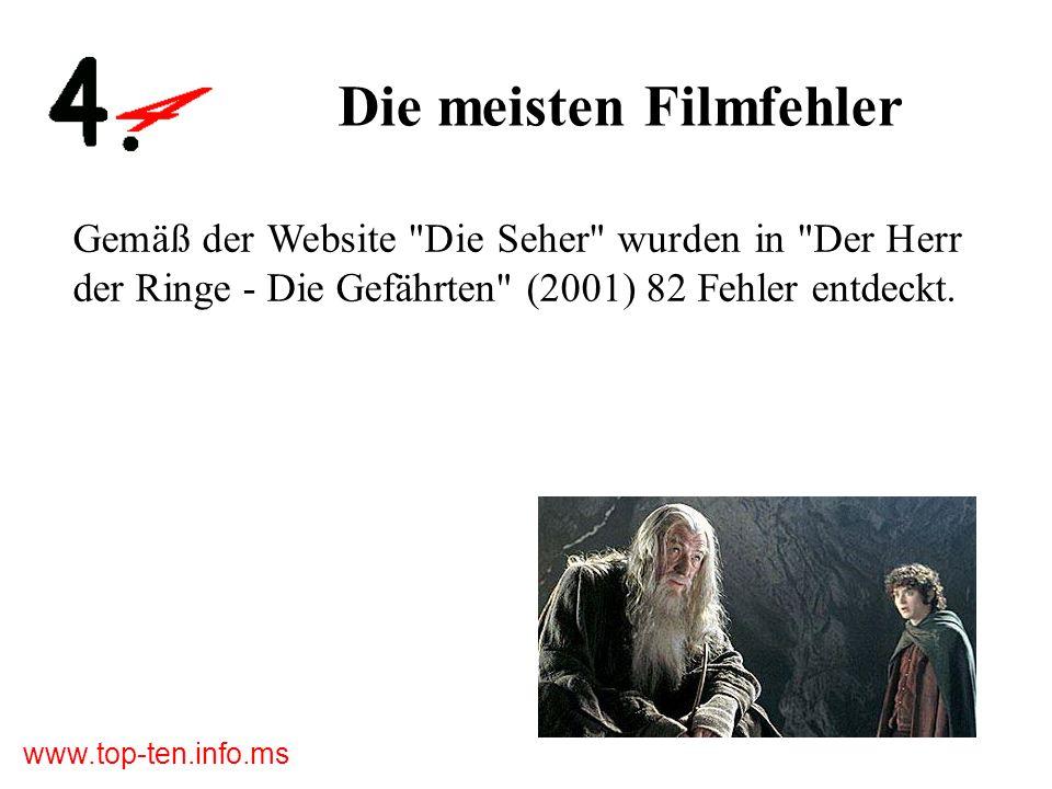 www.top-ten.info.ms Die meisten Filmfehler Gemäß der Website Die Seher wurden in Der Herr der Ringe - Die Gefährten (2001) 82 Fehler entdeckt.
