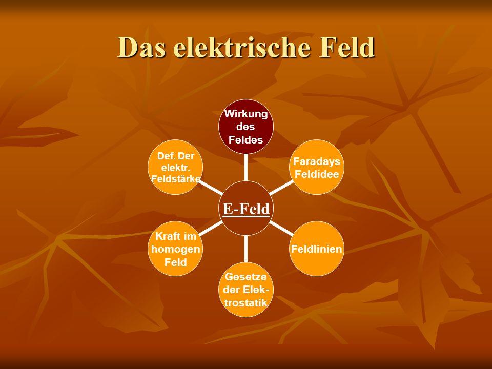 Das elektrische Feld E- Feld Wirkung des Feldes Faradays Feldidee Feldlinien Gesetze der Elek- trostatik Kraft im homogen Feld Def. Der elektr. Feldst