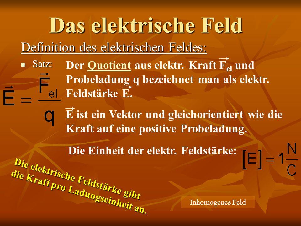 Das elektrische Feld Definition des elektrischen Feldes: Satz: Satz: Der Quotient aus elektr. Kraft F el und Probeladung q bezeichnet man als elektr.