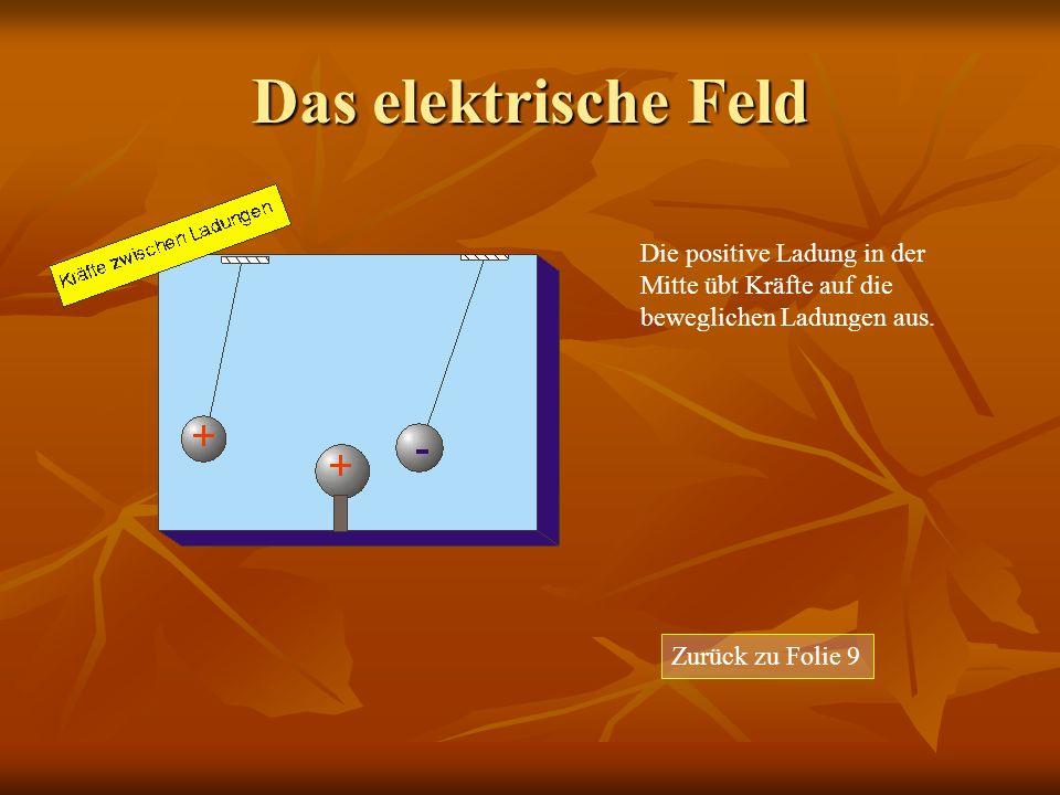 Das elektrische Feld Zurück zu Folie 9 Die positive Ladung in der Mitte übt Kräfte auf die beweglichen Ladungen aus.